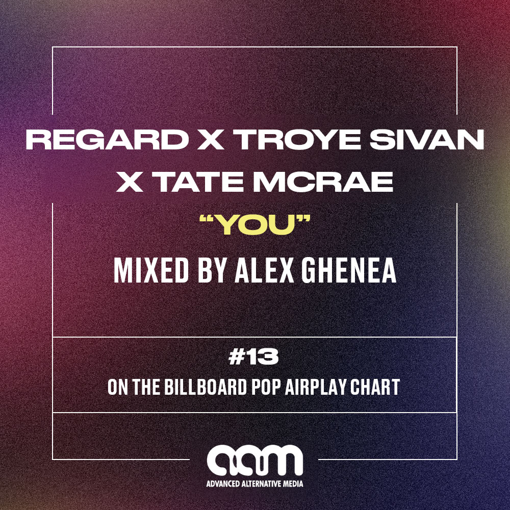 "MIXED BY ALEX GHENEA – Regard X Troye Sivan X Tate McRae ""YOU""  – #13 On the BILLBOARD POP AIRPLAY CHART!"